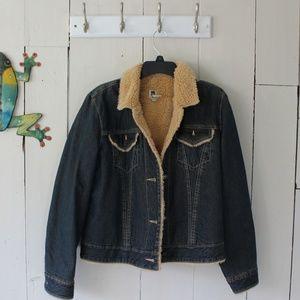 Ladies Blue Denim Fur Lined Gap Jacket Size Large